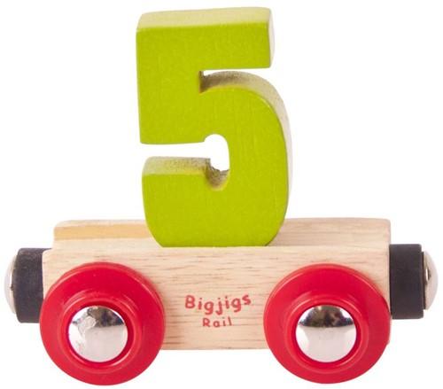 BigJigs Rail Name Number 5 , Cijferwagon 5