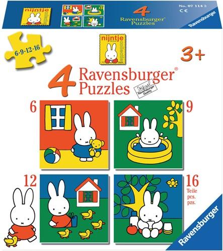 Ravensbuger Puzzel 4 Puzzels 6+9+12+16 stukjes NIJ: nijntje