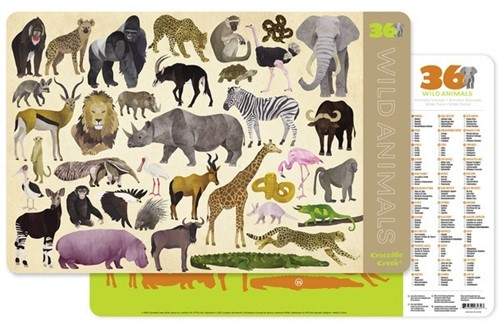 Crocodile Creek Placemats/36 Wild Animals (6 pcs)