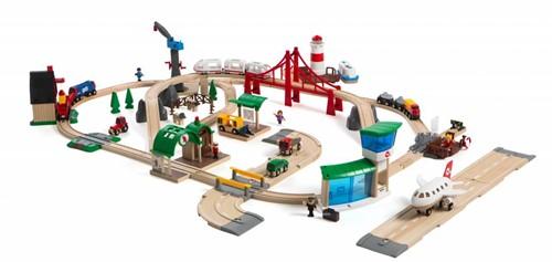 Brio Holz Eisenbahn Set Großes BRIO Premium Set in Kunststoffboxen 33766