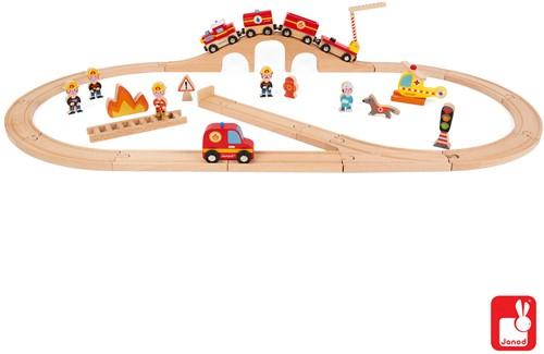 Janod  Story Holz Eisenbahn Set Express Die Feuerwehr