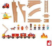 Janod  Story Holz Eisenbahn Set Express Die Feuerwehr-3