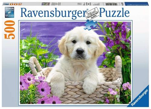 Ravensbuger Puzzel 500 stukjes Schattige Golden Retriever