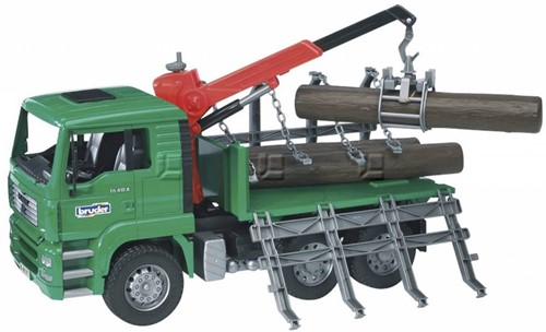 Bruder MAN Timber truck with loading crane and 3 trunks - 2769