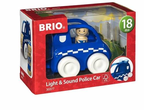 Brio Holz Spielfahrzeug My Home Town - Polizei-Flitzer mit Licht & Sound 30377