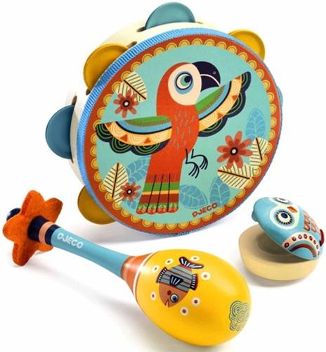 DJECO Set of 3 instruments: Tambourine, maracas, castanet - 32,5 x 185 x 6 cm