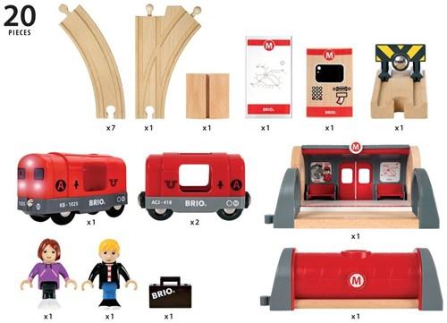 BRIO Holz Eisenbahn Metro Bahn Set 33513-3