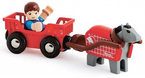 Brio Holz Eisenbahn Zubehör Pferdewagen mit Figur 33794