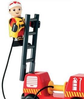 Brio Holz Eisenbahn Zubehör Feuerwehr-Leiterfahrzeug mit Licht & Sound 33811-2