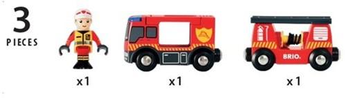 Brio Holz Eisenbahn Zubehör Feuerwehr-Leiterfahrzeug mit Licht & Sound 33811-3