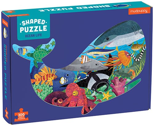 Mudpuppy 300 pcs Shaped Puzzle/Ocean Life