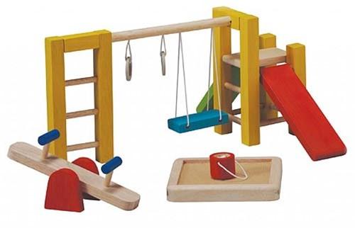 Plan Toys  Holz Puppenhaus Zubehör Spielplatz