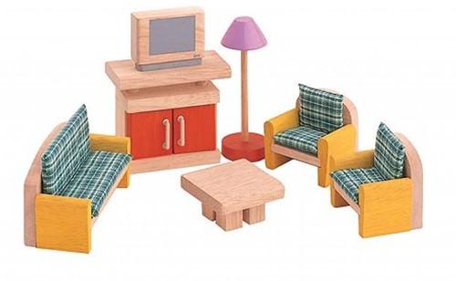 Plan Toys houten poppenhuis meubels woonkamer Planet Happy DE
