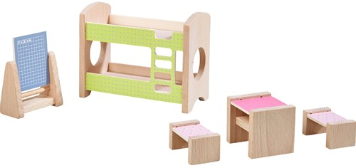 Haba Little Friends – Puppenhaus-Möbel Kinderzimmer für Geschwister