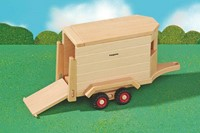 Fagus  houten speelvoertuig paardentrailer 32cm-2