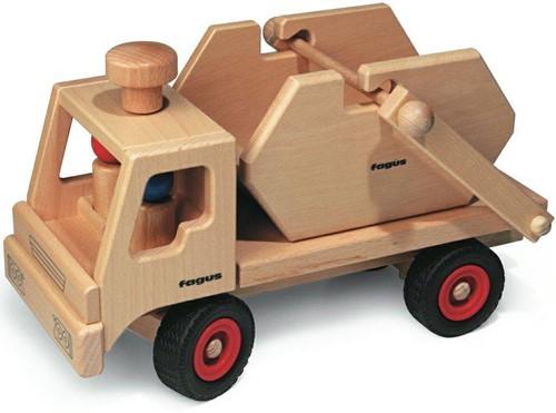 Fagus  houten speelvoertuig vrachtauto met containe