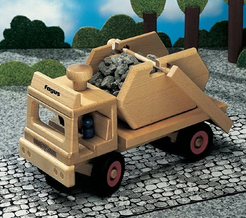 Fagus  houten speelvoertuig vrachtauto met containe-2