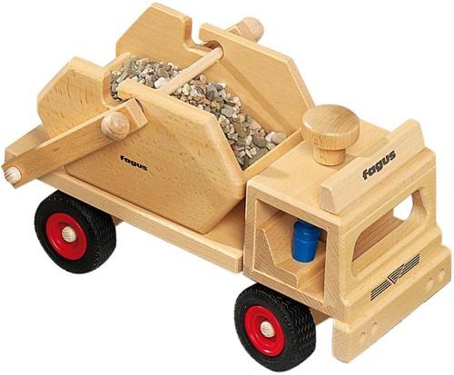 Fagus  houten speelvoertuig vrachtauto met containe-3