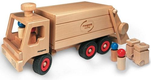 Fagus  houten speelvoertuig vuilniswagen 43cm