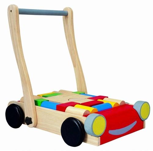 Plan Toys Holz Laufwagen Auto mit Bauklötzen