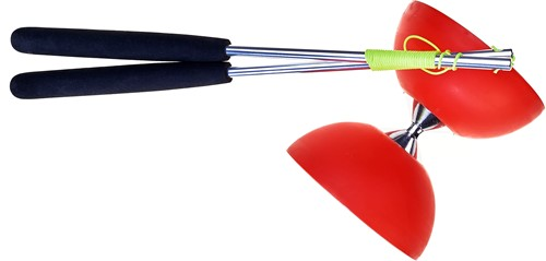 Acrobat - Set 105 Rubber Diabolo Red + aluminum hand sticks