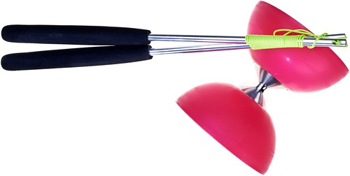 Acrobat - Set 105 Rubber Diabolo Pink + aluminum hand sticks