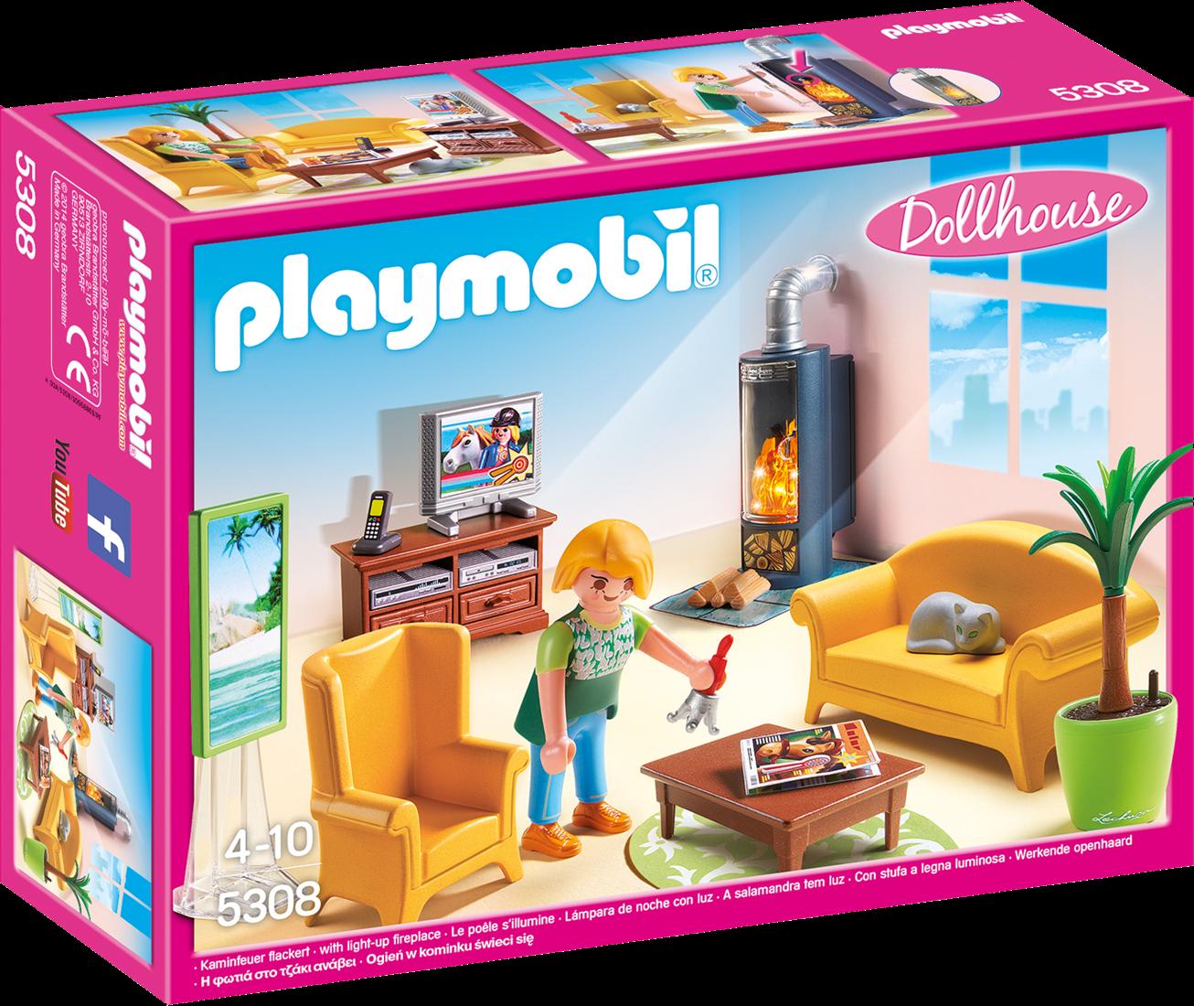 Playmobil Dollhouse - Woonkamer met houtkachel 5308 Planet Happy DE