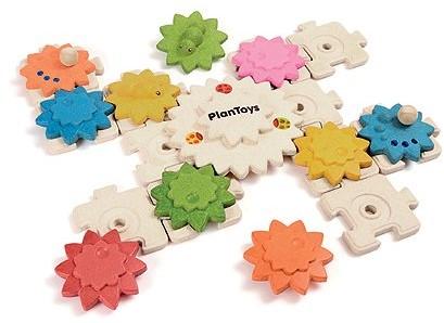 Plan Toys  Holz Lernspiel Zahnräder und Puzzle Deluxe