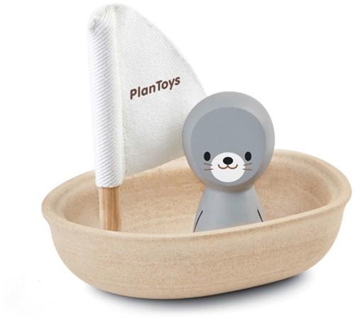 Plan Toys  Holz Badespielzeug Segelboot Robbe