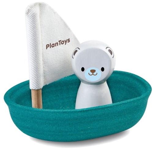 Plan Toys  Holz Badespielzeug Segelboot Eisbär