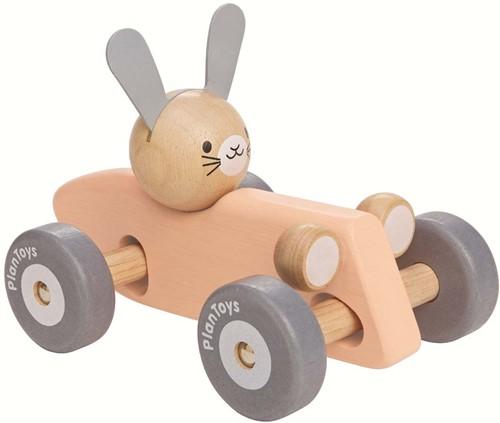 Plan Toys Holz Rennwagen Kaninchen Pastell