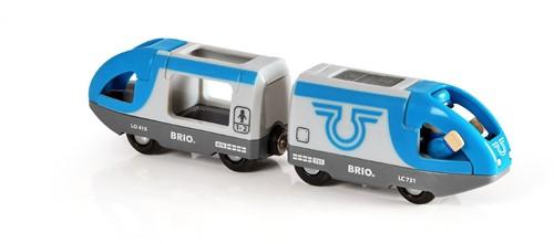 Brio Holz Eisenbahn Blauer Reisezug (Batterielok) 33506