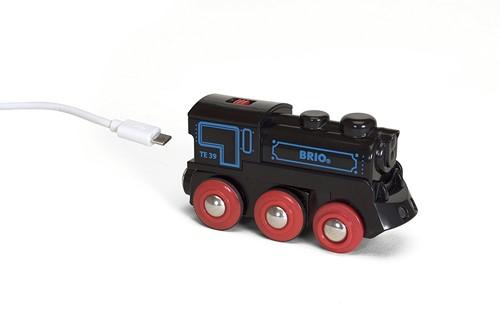 Brio Holz Eisenbahn Schwarze Akku-Lok mit Mini-USB 33599