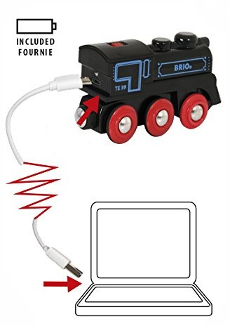 Brio Holz Eisenbahn Schwarze Akku-Lok mit Mini-USB 33599-3