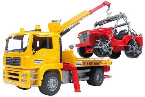 BRUDER MAN TGA Breakdown truck with cross country vehicle Spielzeugfahrzeug