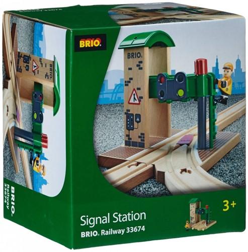 Brio Holz Eisenbahn Gebäude Signal Station 33674-3