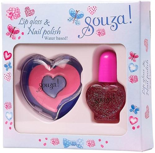 Souza Nagellak glitter + Lip gloss roze (2 stuks/6 sets)