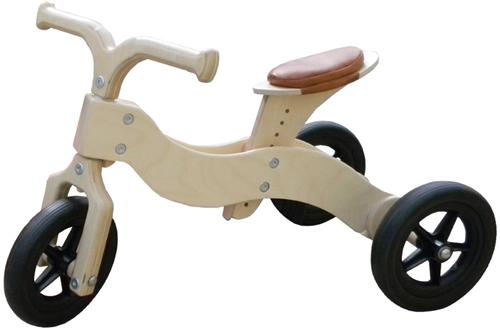 Van Dijk Toys Holz Laufrad Dike-Trike Natur 2-in-1