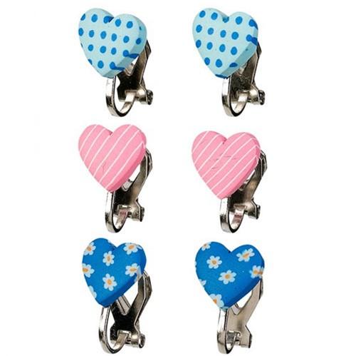 Souza Oor clips Filipa, hartje, roze+blauw+l.blauw (3 paar/kaartje, 6 kaartjes)