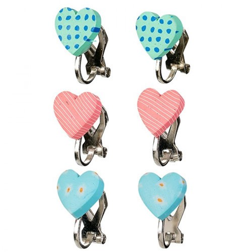 Souza Oor clips Filipa, hartje, roze+blauw+mint (3 paar/kaartje, 6 kaartjes)