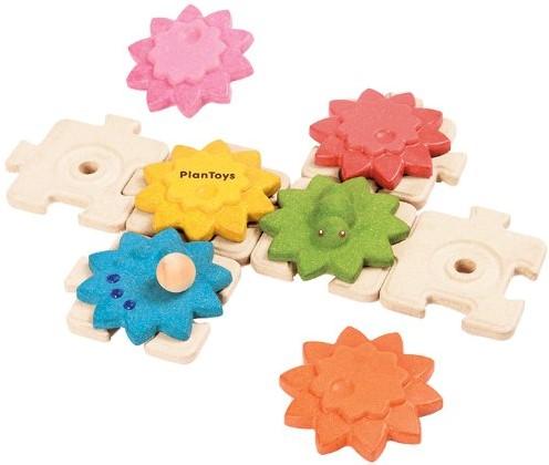 Plan Toys  Holz Lernspiel Zahnräder und Puzzle Standard