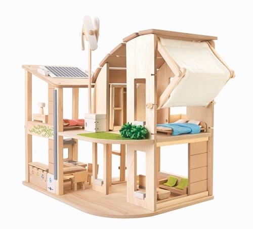 Plan Toys Umweltfreundliches Holz Puppenhaus mit Möbeln
