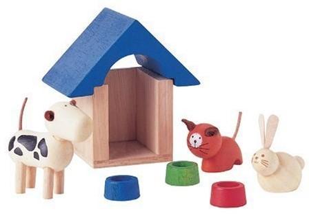 Plan Toys  Holz Puppenhaus Zubehör Haustiere