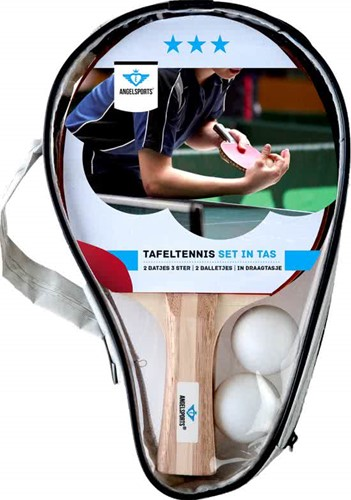 Angel Sports Tafeltennisset 2x 3 ster bat met 2  ballen 40mm