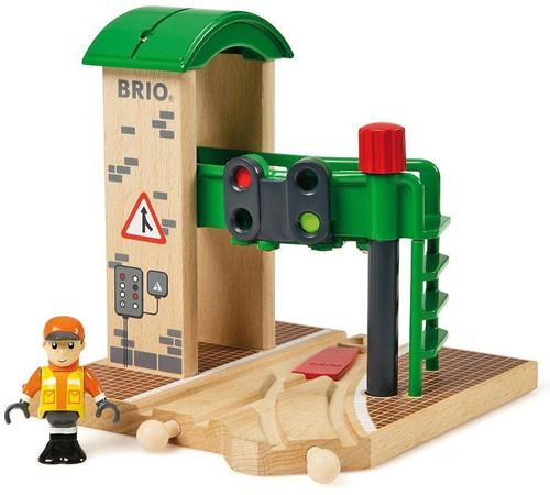 Brio Holz Eisenbahn Gebäude Signal Station 33674