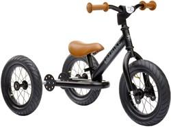 Trybike Laufrad 2-in-1 Stahl Schwarz mit braunen Handgriffen und Sattel