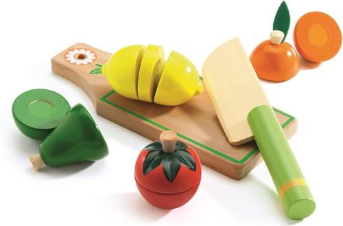 Djeco Holzküche Zubehör Obst und Gemüse zum Schneiden