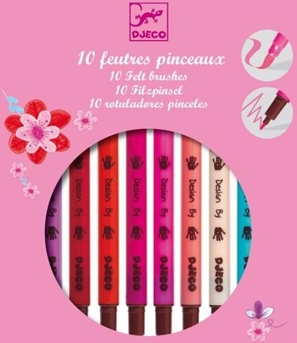 DJECO 10 felt brushes-girl - 19 x 16,5 x 1,5 cm