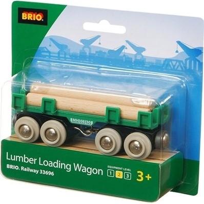 Brio Holz Eisenbahnwaggon Langholzwagen 33696-2