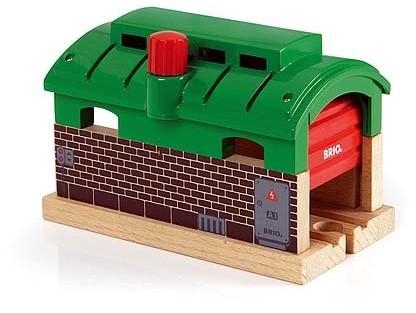 Brio Holz Eisenbahn Gebäude Lokschuppen mit Rolltor 33574